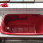 熊本県八代市、戸建て住宅在来浴室、カラーステンレス浴槽、既存塗膜撤去・塗装リフォーム